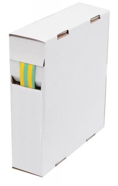 Schrumpfschlauch Isolierschlauch 2:1 (D=9,5mm/d=4,8mm) Länge 8m Grün Gelb in praktischer Spender Box