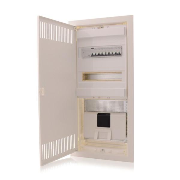 Kombi Multimediaverteiler und Sicherungskasten Unterputz 4-reihig mit 2 DIN Schienen Kommunikationsverteiler