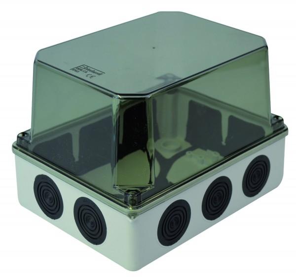 Installationsgehäuse mit Membraneinführungen, hoher transparenter Deckel, 190x145x135mm JS7301