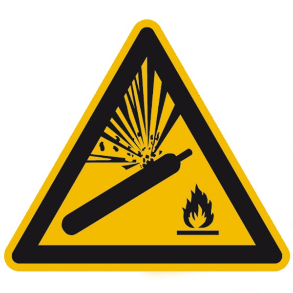 Warnzeichen Warnung unter Druck gesetzter Zylinder Warnschild 200mm aus nicht selbstklebendem PVC Be