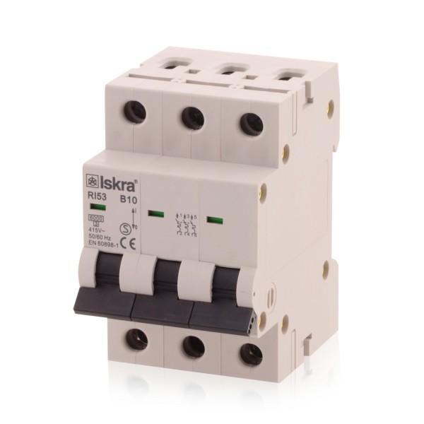 Sicherungsautomat Leitungsschutzschalter MCB 10A Typ B 3-polig 400V effektiver Schutz 1 Stück