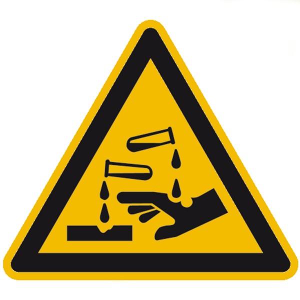 Warnzeichen Warnung vor ätzenden Stoffen Sicherheitsschild Warnschild 100mm aus selbstklebendem PVC