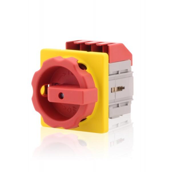 Hauptschalter mit Zentralbefestigung 4-polig 63A Lasttrennschalter Not-Aus-Schalter Premium Version
