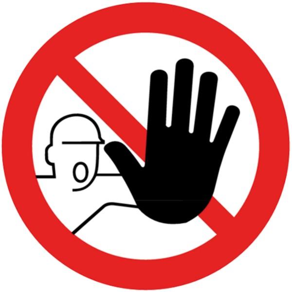 Verbotszeichen Zutritt für Unbefugte verboten Sicherheitsschild Verbotsschild 100mm aus selbstklebenden PVC Betriebsausstattung