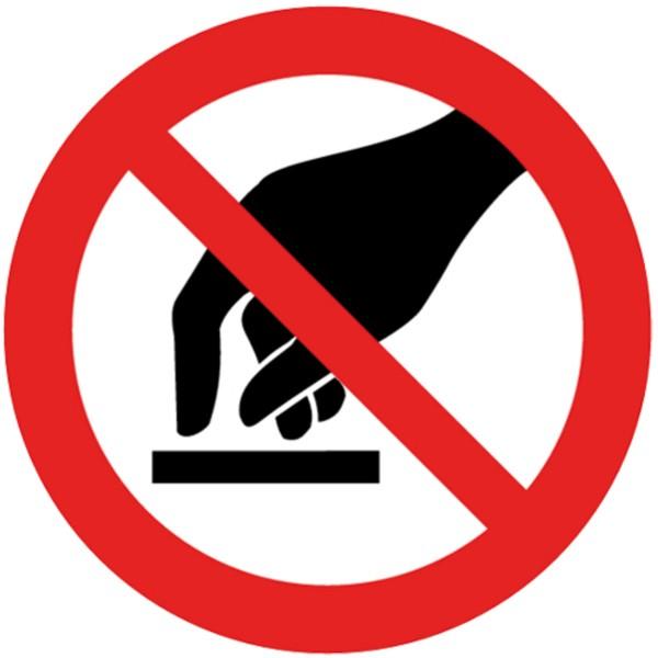 Verbotszeichen Berühren verboten Sicherheitsschild Verbotsschild 200mm aus selbstklebendem PVC Betriebsausstattung