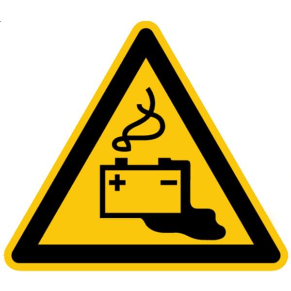 Warnzeichen Warnung vor Gefahren durch Batterien Warnschild 200mm aus selbstklebendem PVC Betriebsau