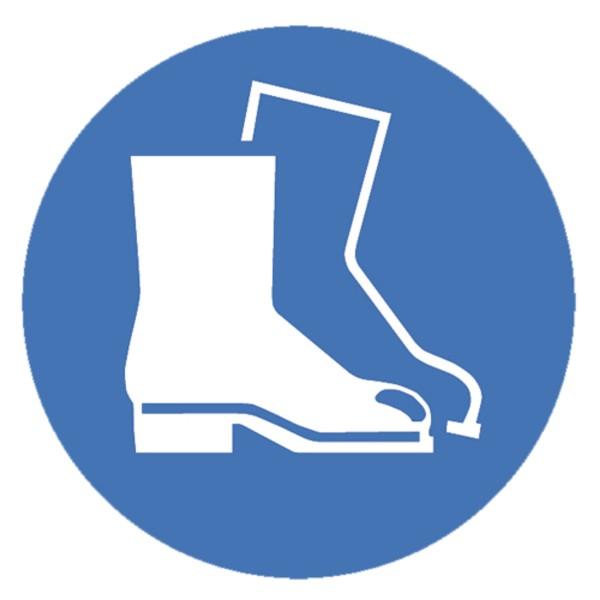 Gebotszeichen Fußschutz benutzen Sicherheitsschild Warnschild 100mm aus selbstklebendem PVC Betriebs