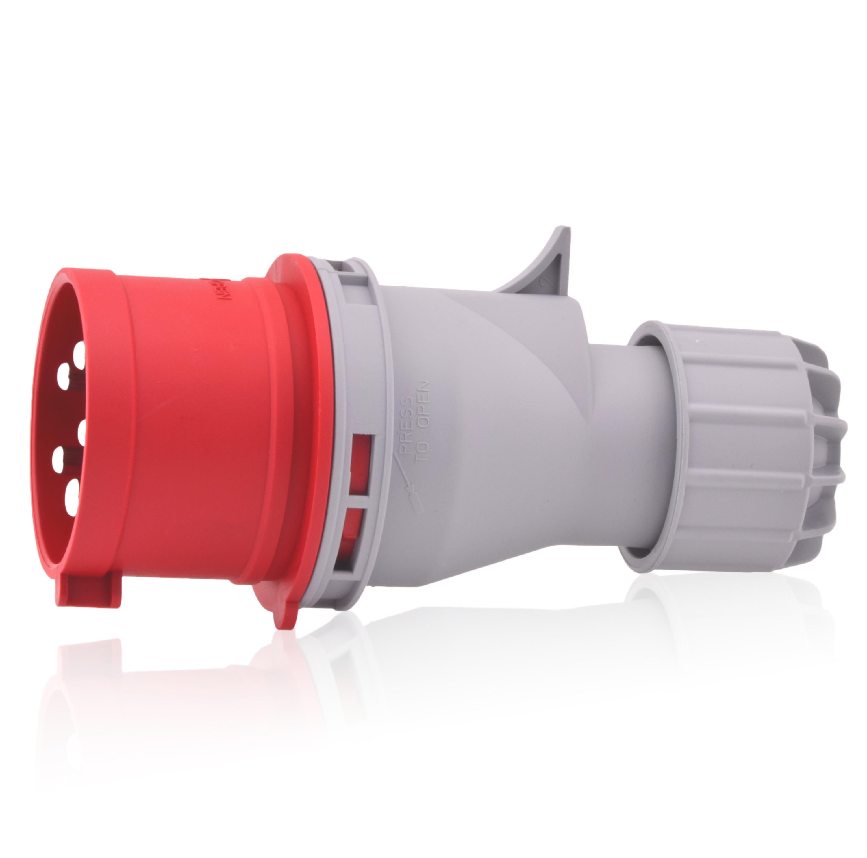 CEE Wand-Stecker 16A//400V 5-polig rot 6h IP44 3P+E+N Aufputz