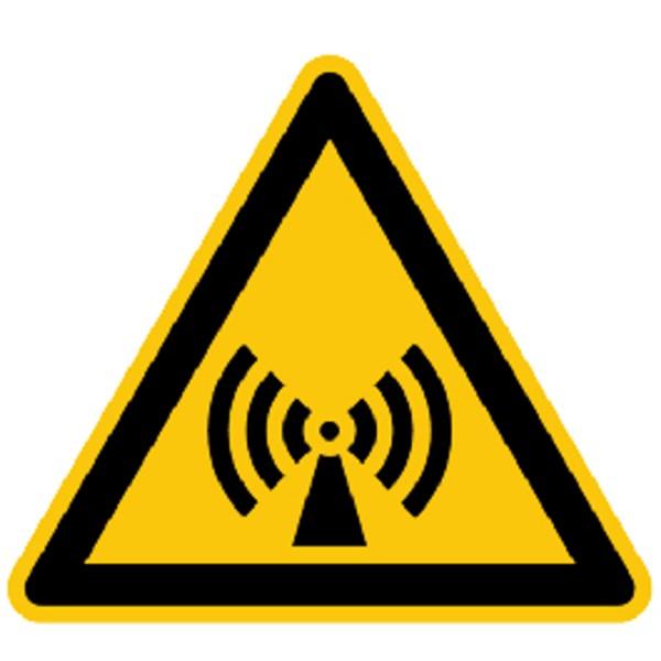 Warnzeichen Warnung vor elektromagnetischen Feldern Warnschild 200mm aus selbstklebendem PVC Betrieb