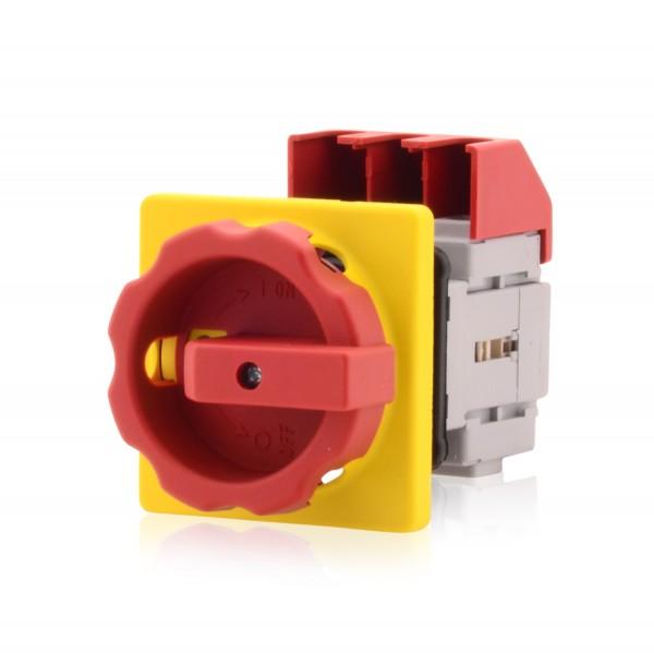Hauptschalter mit Zentralbefestigung 3-polig 63A Lasttrennschalter Not-Aus-Schalter Premium Version