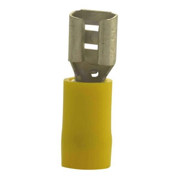 Flachsteckhülsen Kabelschuhe Breite:6,3mm, Steckdicke:0,8mm, Nenngröße:6mm², Gelb