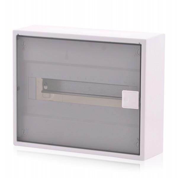 Sicherungskasten ALPHA Aufputzverteiler 1-reihig 12TE IP40 transparente Tür