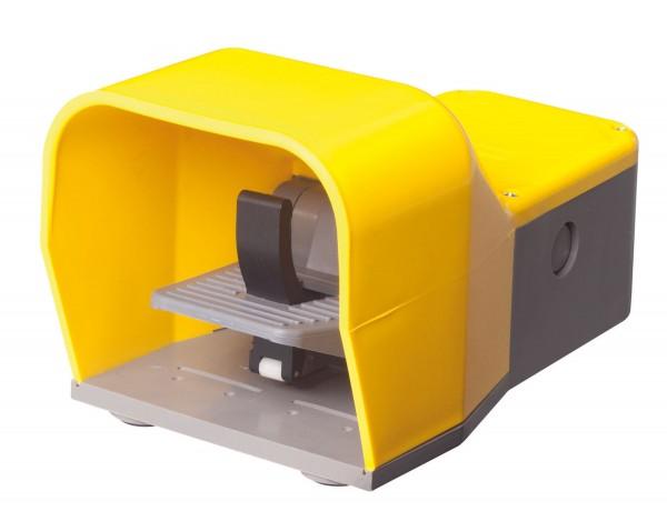 Fußschalter mit Schutzhaube in Gelb 2NO+2NC Sprungschalter 2-stufig Kunststoff mit Sicherheitshebel