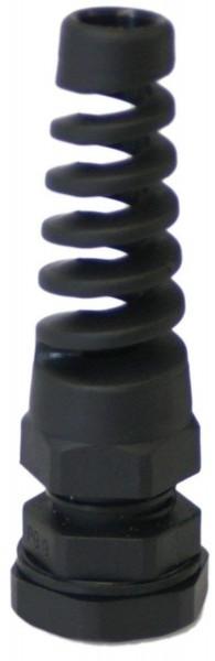 Spiral Kabelverschraubung M12 x 1,5 schwarz mit Gegenmutter Kunststoff JSM12KVS-SSP