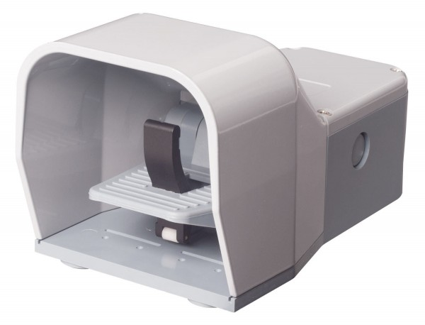 Fußschalter Fußpedal m. Schutzhaube Grau 2NO+2NC Sprungschalter 2-stufig Metall m. Sicherheitshebel