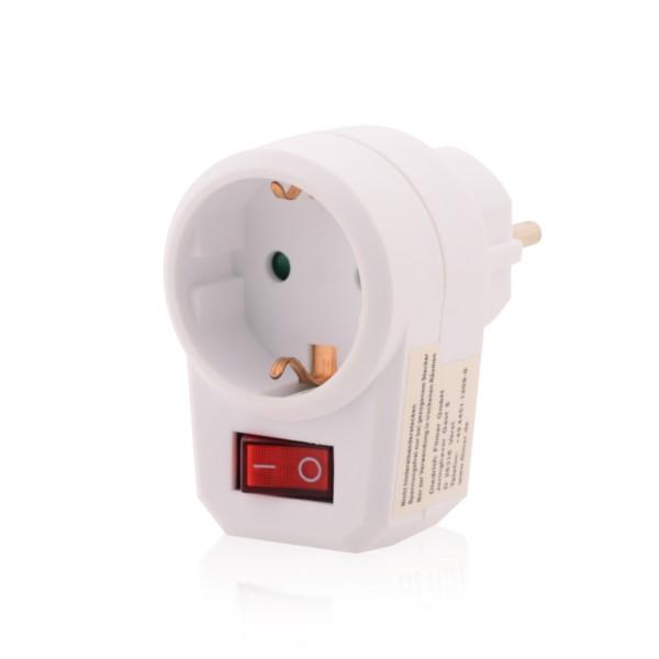 Steckdose Anschlussbuchse mit beleuchtetem Ein- / Aus-Schalter in weiß 1 x Schuko für Innen