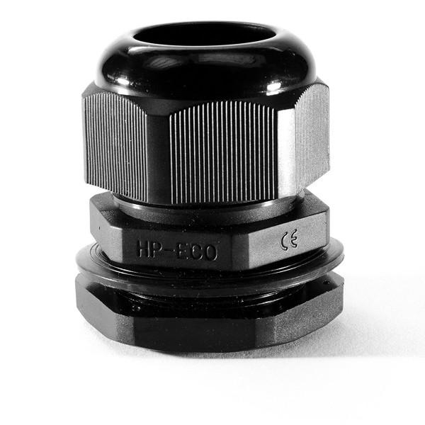 Kabelverschraubung PG7 schwarz mit Gegenmutter aus Kunststoff