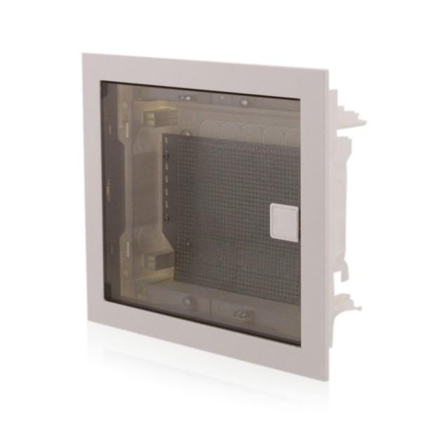 Multimediaverteiler Kommunikationsverteiler Unterputz, IP40, transparente Tür, 650°C Media