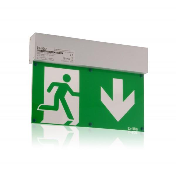 Notleuchte Rettungszeichenleuchte Brandschutz Notausgang LED IP40 Aluminium Deckenaufbau Notlicht 8h