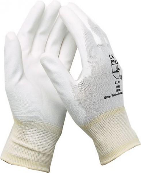 Montagehandschuhe Arbeitshandschuhe Mechanikerhandschuhe Nylon mit PU Weiß Größe 7