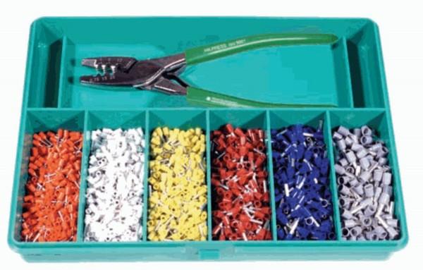 Sortimentskasten mit Presswerkzeug und isolierten Aderendhülsen & Zange