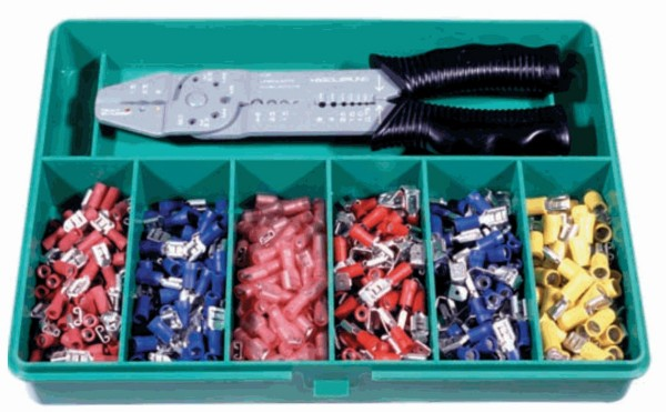 Sortimentskasten mit Presswerkzeug und isolierten Flachsteckhülsen & Zange