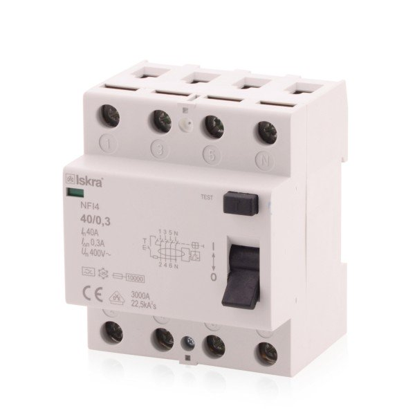 FI-Schutzschalter Fehlerstrom RCCB, 40A, Typ A, 4-polig 300mA, 230/400V, bietet effektiven Schutz