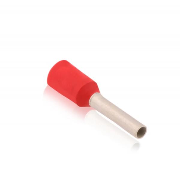 Aderendhülsen isoliert mit Kunststoffkragen Nenngröße DIN 1,00mm² Hülsenlänge 6,0mm Rot