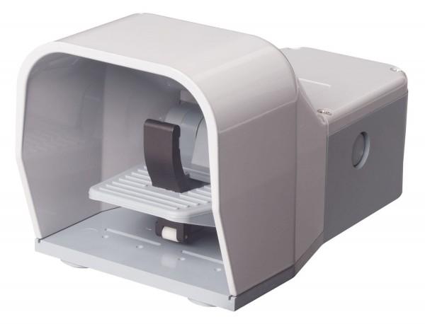 Fußschalter Fußpedal Schutzhaube Grau 2NO+2NC Schleichschalter 2-stufig Kunststoff Sicherheitshebel
