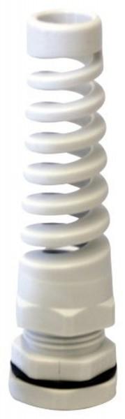 Spiral Kabelverschraubung M12 x 1,5 grau mit Gegenmutter Kunststoff JSM12KVS-GSP