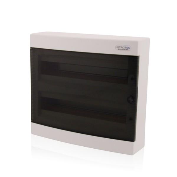 Sicherungskasten Aufputz 2-reihig für 36 Module IP40 transparente Tür