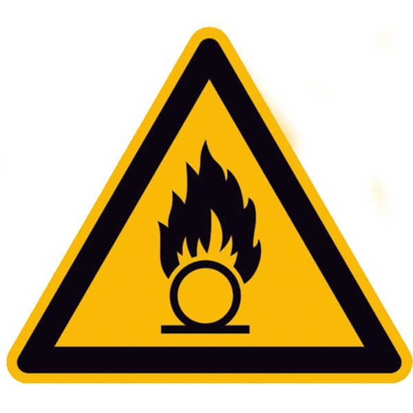 Warnzeichen Warnung vor brandfördernden Stoffen Sicherheitsschild Warnschild 200mm aus nicht selbstk