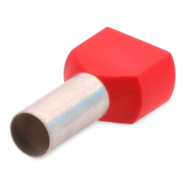 Twin-Aderendhülse Duo Zwilling zweiadrig mit Kunststoffkragen 2 x 1,5 mm² Länge: 12 mm Rot