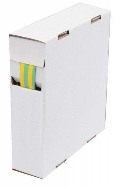 Schrumpfschlauch Isolierschlauch 2:1 (D=4,8mm/d=2,4mm) Länge 12 m Grün Gelb praktische Spender Box