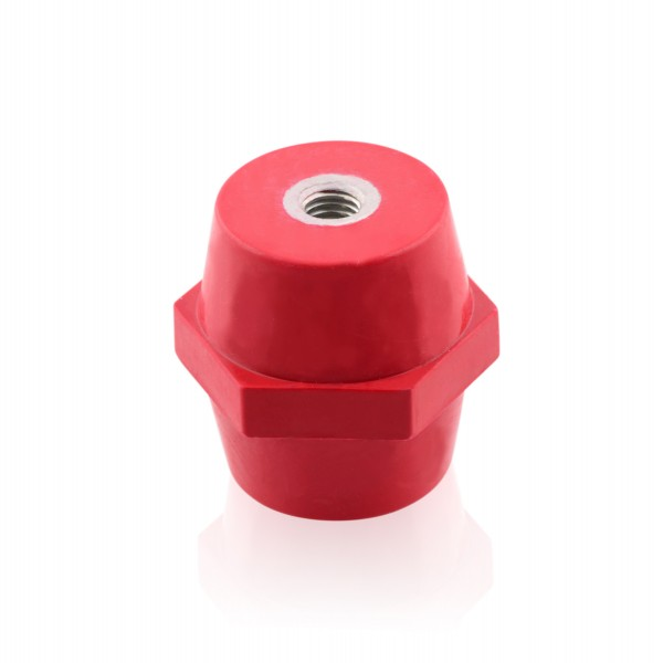 Isolator M6 Rot 30x30mm Polyesterharz Stützisolator Selbstverlöschend Stromschienenhalter
