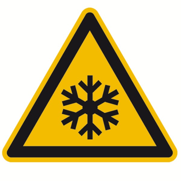 Warnzeichen Warnung vor Kälte Sicherheitsschild Warnschild 100mm aus selbstklebendem PVC Betriebsaus