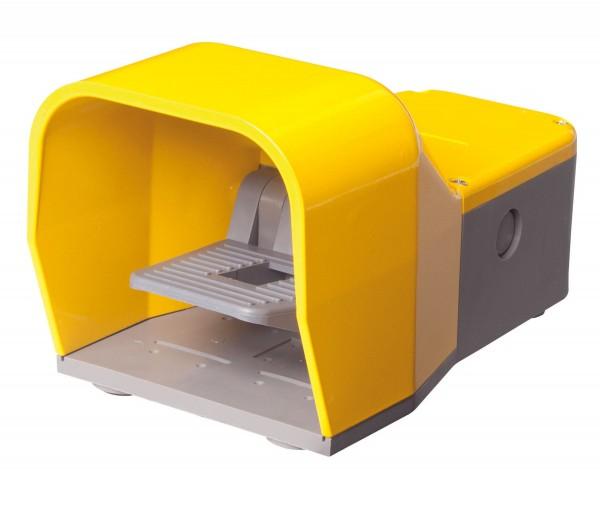 Fußschalter mit Schutzhaube in Gelb 2NO+2NC Schleichschalter 2-Stufig Metall ohne Schutzeinrichtung