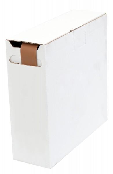 Schrumpfschlauch Isolierschlauch 2:1 (D=4,8mm/d=2,4mm) Länge 12 m Braun in praktischer Spender Box