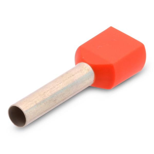 Twin-Aderendhülse Duo Zwilling zweiadrig mit Kunststoffkragen 2 x 4,0 mm² Länge:18 mm Orange